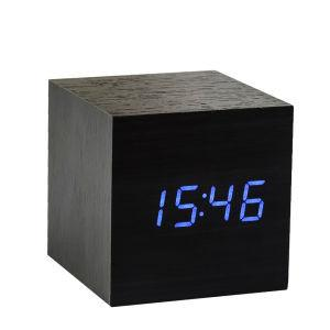 Black Cube Click Clock With Blue LED