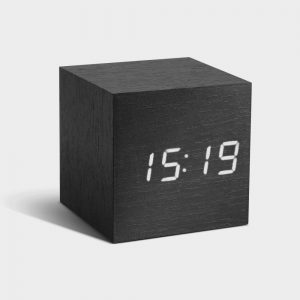 Black Cube Click Clock White LED