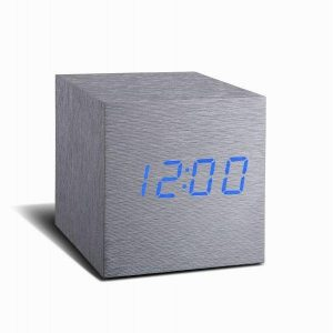 Cube Aluminium Click Clock Blue LED