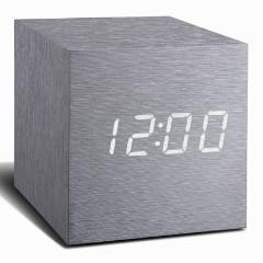 Cube Aluminium Click Clock White LED