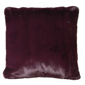 Wine Faux Fur Cushion Cover