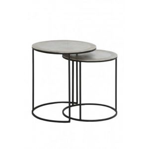 Raw Nickel Side Tables Set of 2