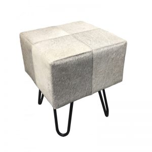 Grey & White Cow Hide Top Wood Stool