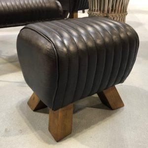 Black Leather Stitched Pommel Horse Footstool