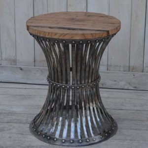 Iron Side Table with Wooden Top
