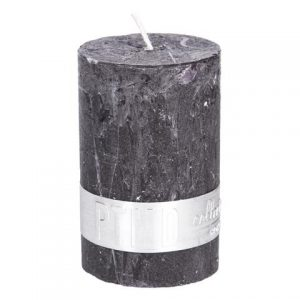 PTMD Rustic Dark Shades Pillar Candle (8x5cm) Small Charcoal Black