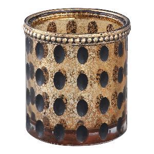 Grey & Gold Round Dots Tea Light Holder