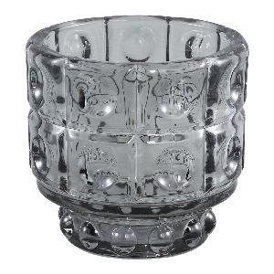 Grey Cool Glass Round Pattern Tea Light Holder