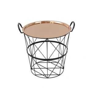 Small Wire Storage Table with Copper Lid Tray