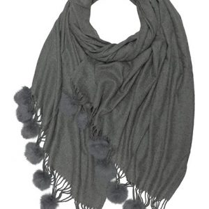 Winter Blend Cashmere Scarf With Fur Pompoms Charcoal