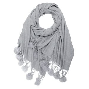 Winter Blend Cashmere Scarf With Fur Pompoms Grey