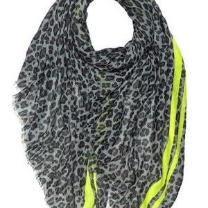 Grey Leopard Print Scarf with Lime Stripe Trim