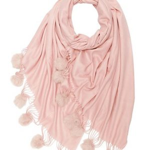 Winter Blend Cashmere Scarf With Fur Pompoms Pink