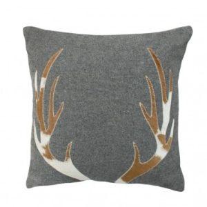 Grey Antler Wool Cushion