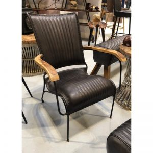 Stitched Black Leather Armchair