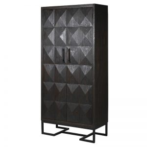 Brutalist Style Charcoal Diamond Relief Tall Cabinet