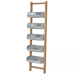 Wooden Ladder with 5-Tray Metal Storage