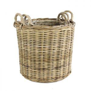 Round Kubu Log Basket