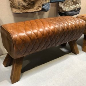 Brown Leather Diamond Stitch Pommel Horse Style Bench