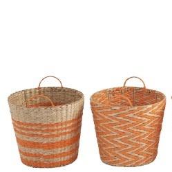 Orange Seagrass Basket Zig Zag