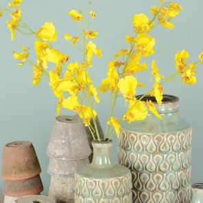Faux Yellow Orchid Stem