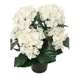 Faux White Hortensia Plant in Pot