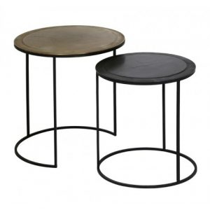 Brass & Black Side Tables Set of Two