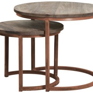 Cuzco Wood & Copper Side Tables Set of Two