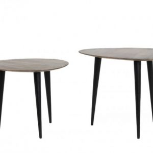 Chasey Wood Brown Black Side Tables Set of Two