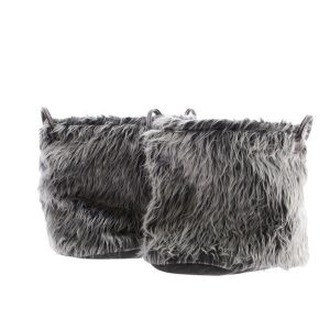 Faux Fur Basket with Handles Grey