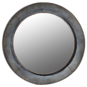 Distressed Round Metal Wall Mirror