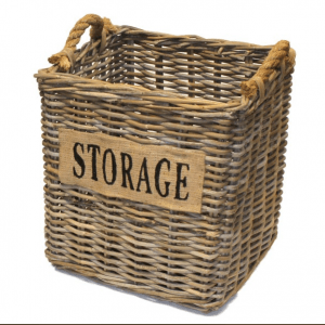 Small Square Storage Basket with Hessian Label