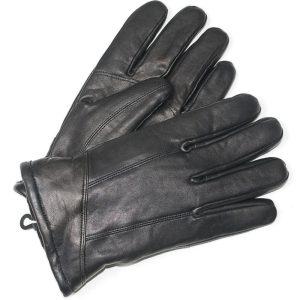 Men's Black Leather Gloves Large