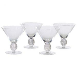 Silver Crystal Ball Cocktail Glass