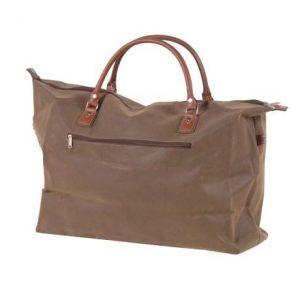Medium Brown Faux Leather Travel Bag