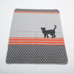 Cat Pet Blanket Grey with Orange Stripe