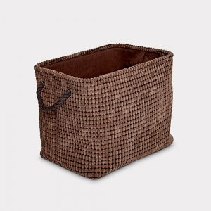Sueded Finish Brown Storage Basket Large