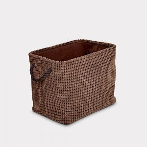 Sueded Finish Brown Storage Basket Small
