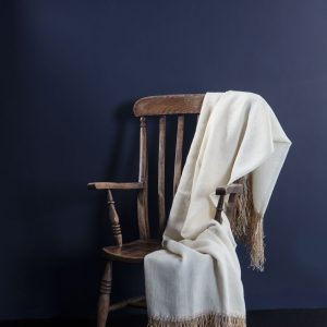 Wool Linen Throw with Raffia Trim