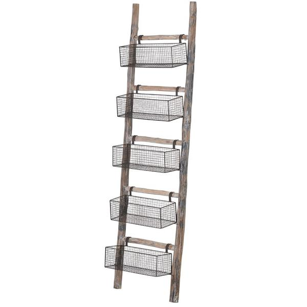 Wooden Ladder with 5-Tray Wire Storage