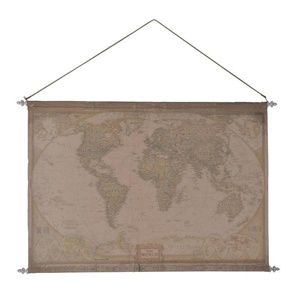 Extra Large Fabric World Map Wall Hanging