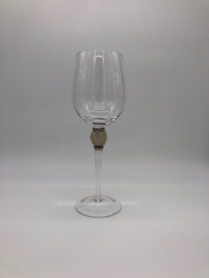 Single Silver Crystal Ball White Wine Glass
