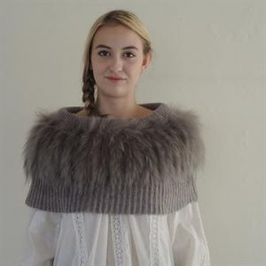 'Kajta' Collar of Mohair & Raccoon Taupe