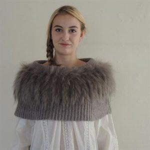 'Kajta' Collar of Mohair & Raccoon Taupe