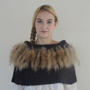 'Kajta' Collar of Mohair & Raccoon Grey