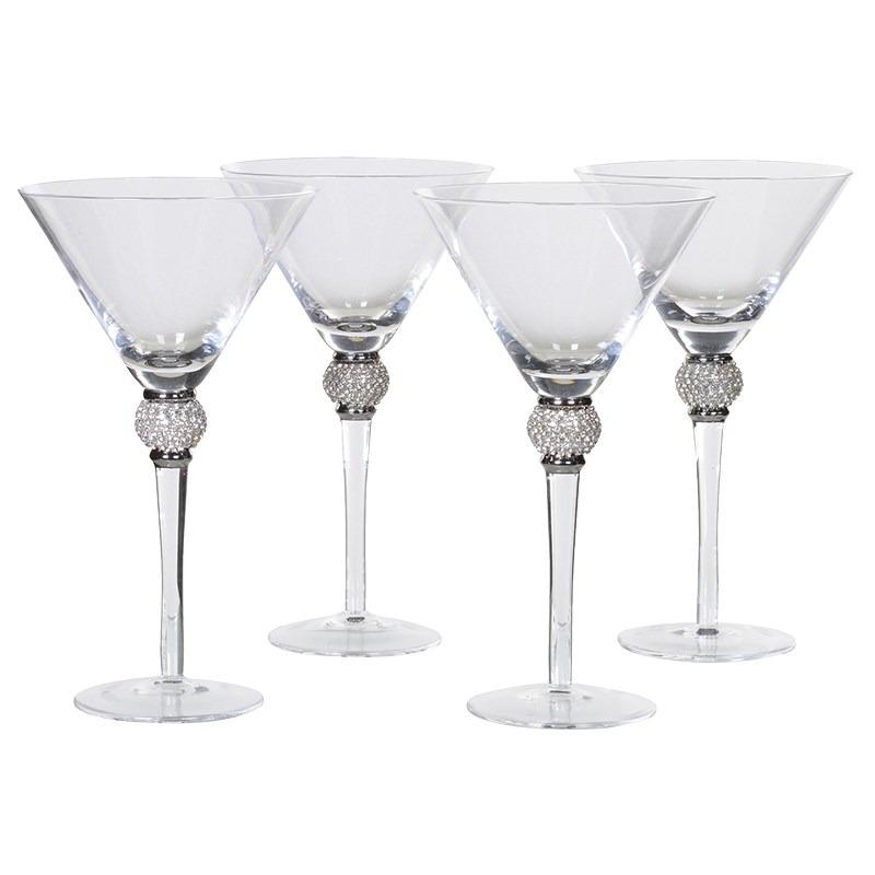 Silver Diamond Stem Martini Glass