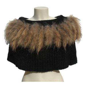 'Kajta' Collar of Mohair & Raccoon Black/Brown