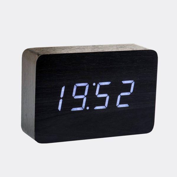 Brick Black Click Clock / Blue LED