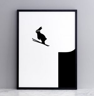 Framed Ski Jumping Rabbit Print