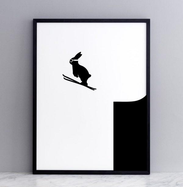 Framed Ski Jumping Rabbit Print